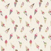 Lewis & Irene Picnic In The Park - 4695 - Ice Cream Cones on Cream - A154.1 - Cotton Fabric